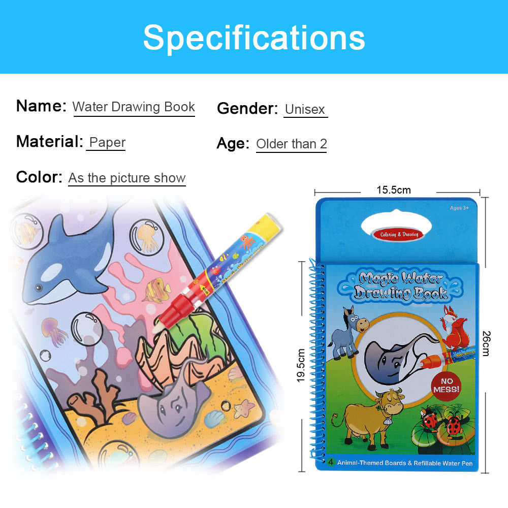 Non Toxic Magic Water Drawing Book Coloring Doodle With Pen Animals Painting No Ink Educational Toy