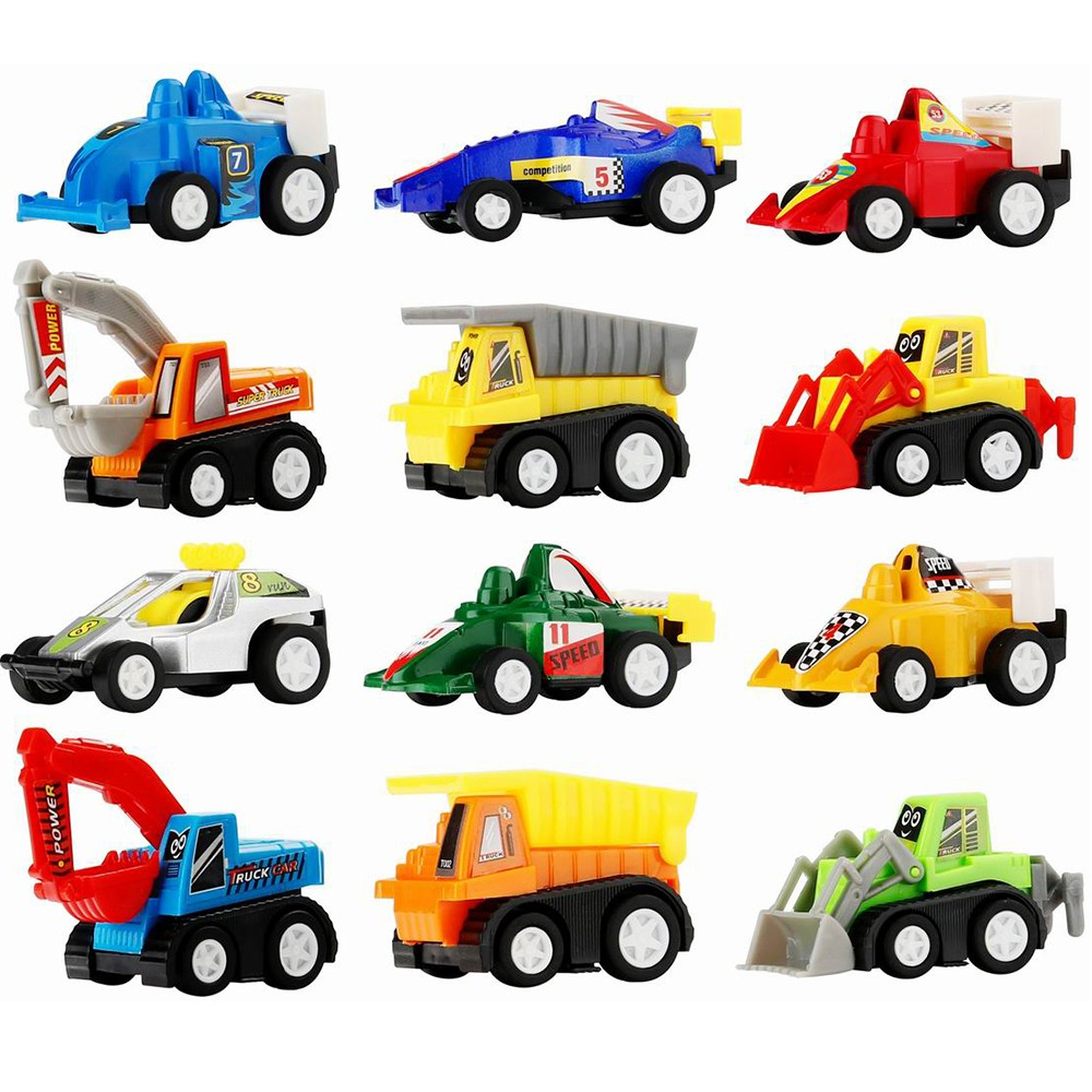 $5 OFF 12 Pcs Pull Back Vehicle Assorted Construction Vehicles,free shipping $7.99