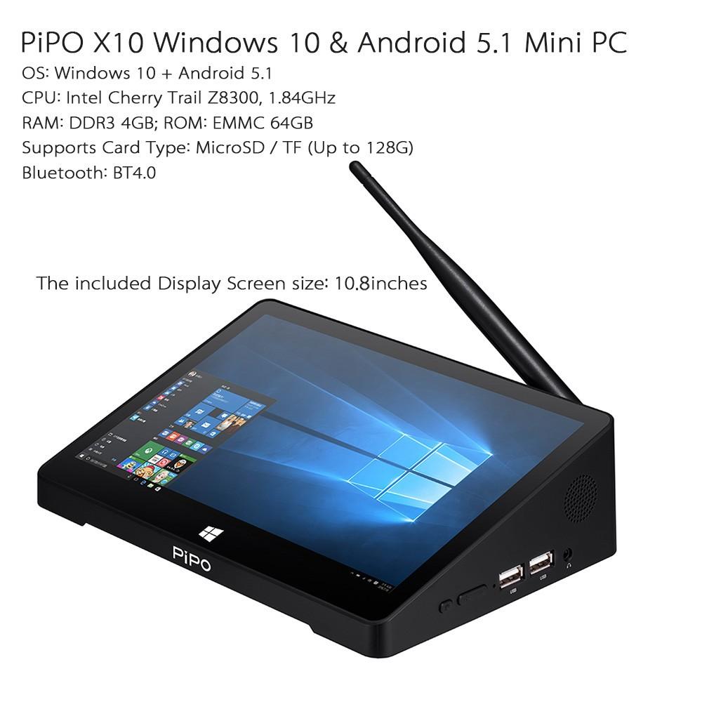 pipo x10 smart android tv box windows 10 mini pc intel. Black Bedroom Furniture Sets. Home Design Ideas