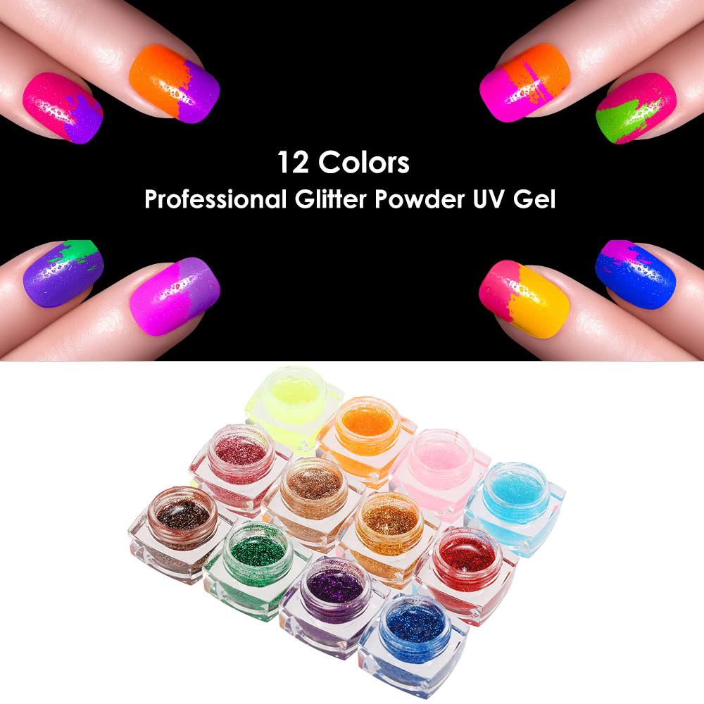 12 Colors Professional Glitter Powder UV Gel Nail Art Gel - Tomtop.com