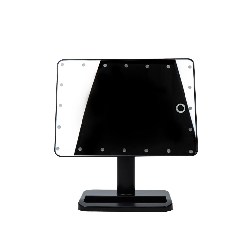 Adjustable 20 LED Light Cosmetic Square Vanity Desk Stand Makeup Mirror ABS Rotatable Touch ...