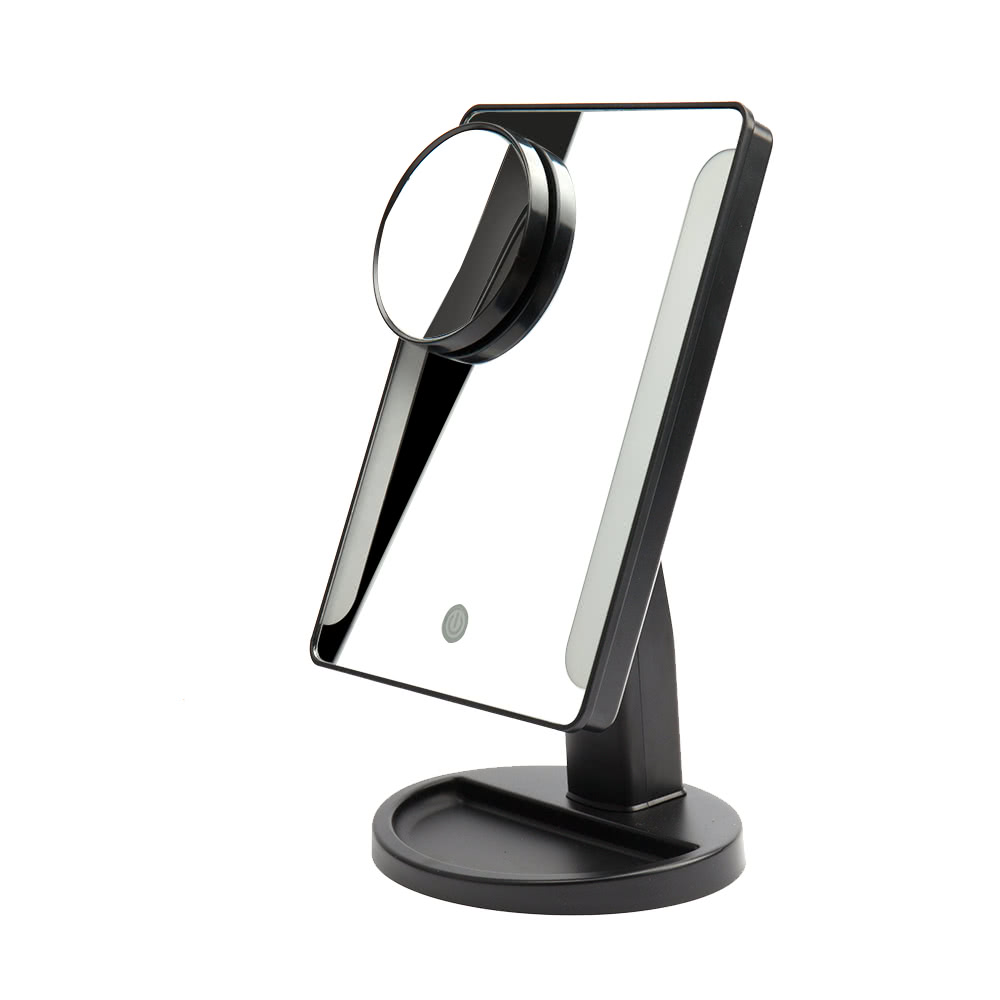 Adjustable 36 LED Light Square Vanity Stand Makeup Mirror ABS with a 10X Magnifying USB Charging ...