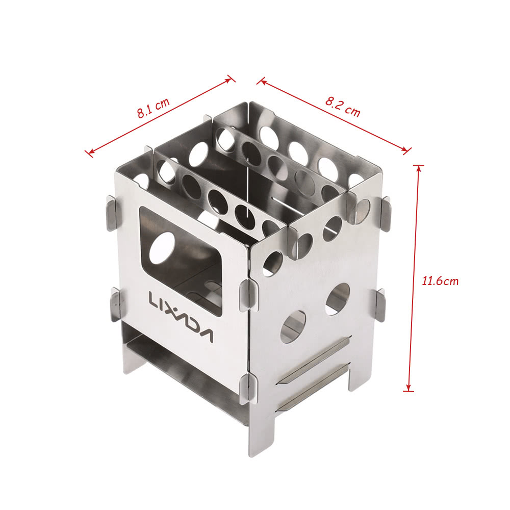 1 * Wood Stove 1 * Pouch - Lixada Portable Stainless Steel Lightweight Folding Wood Stove