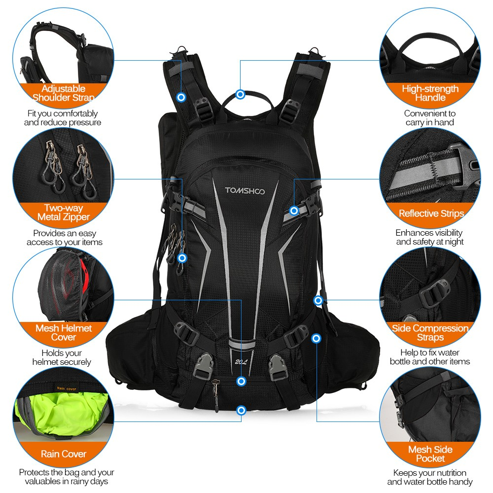 $6 OFF TOMSHOO 20L Water-resistant Cycling Backpack,free shipping $29.89