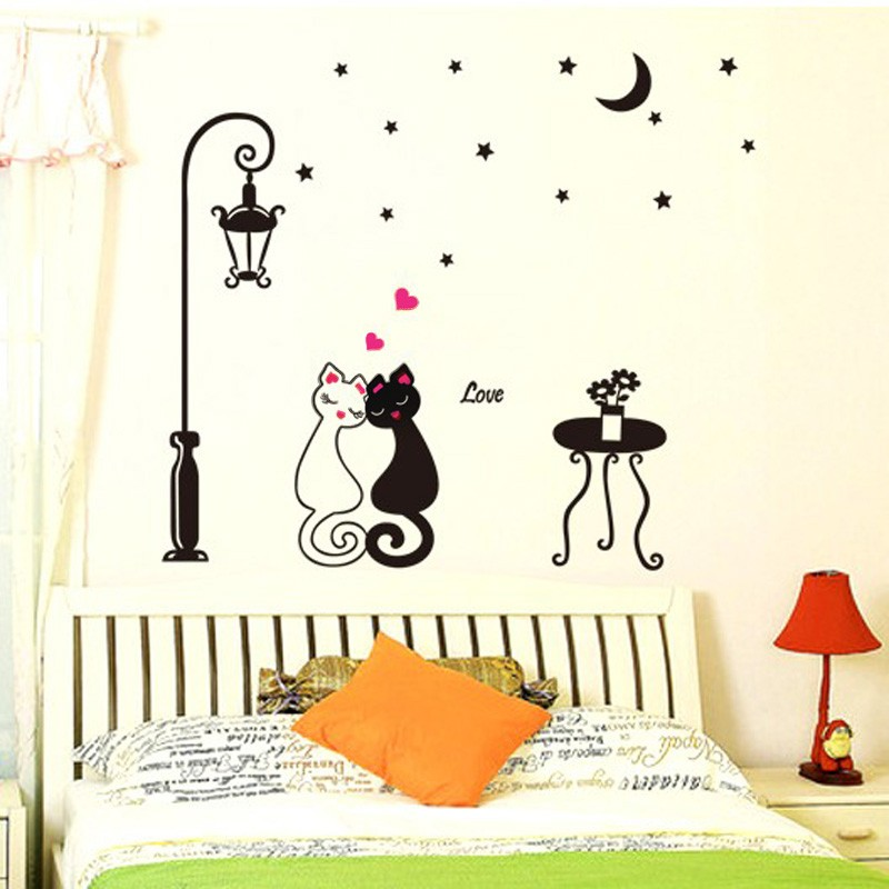 Cute Couples Cats Cartoon Wall Sticker Kids Children's Room Sales Online -  Tomtop.com