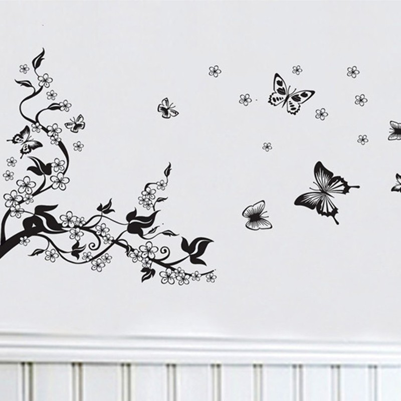Floral Butterfly Flower DIY Vine Wall Stickers Art Decor Mural Room Decal