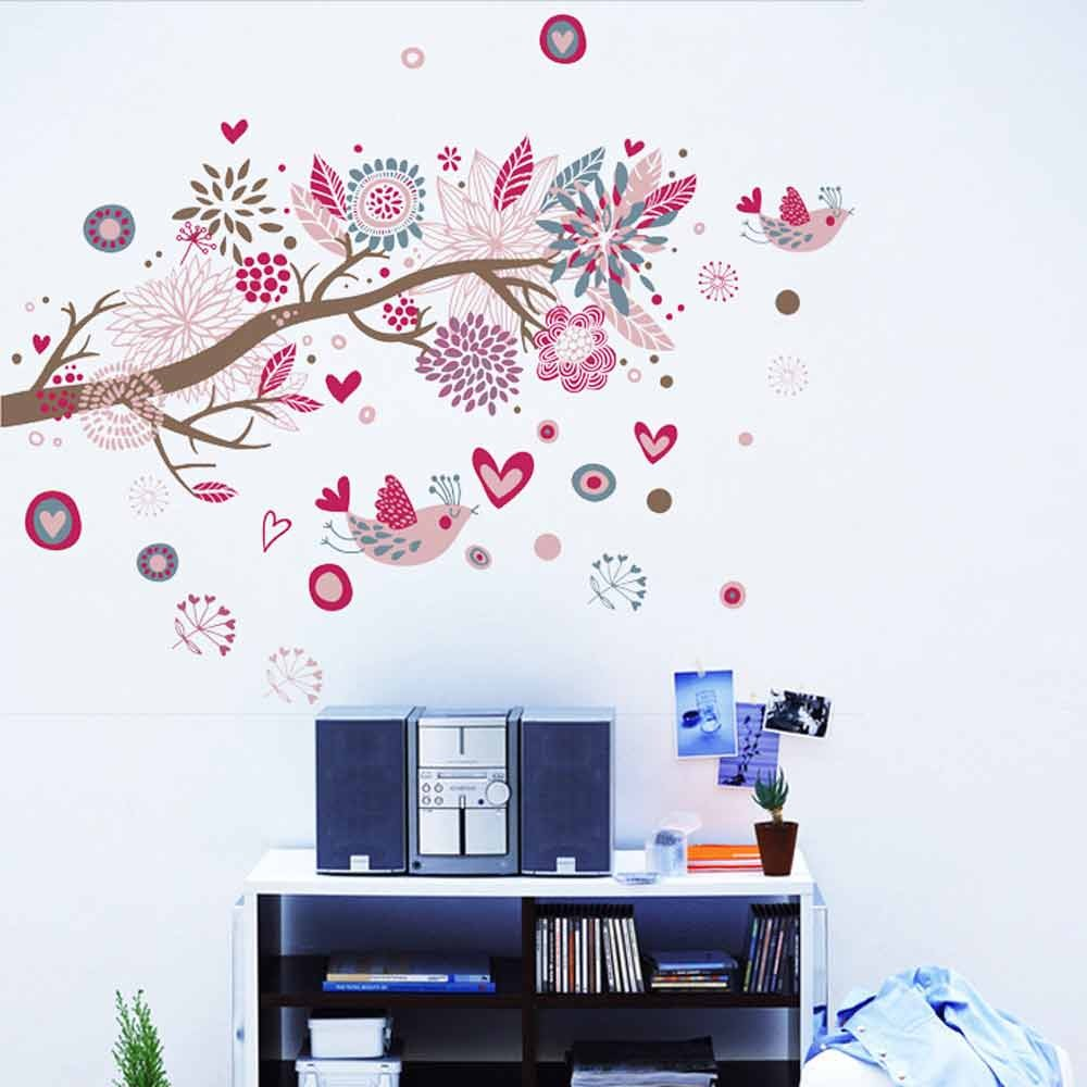 fabulous bohemia flowers bird removable wall stickers art decals mural sales online medium tomtopcom with ikea stickers muraux
