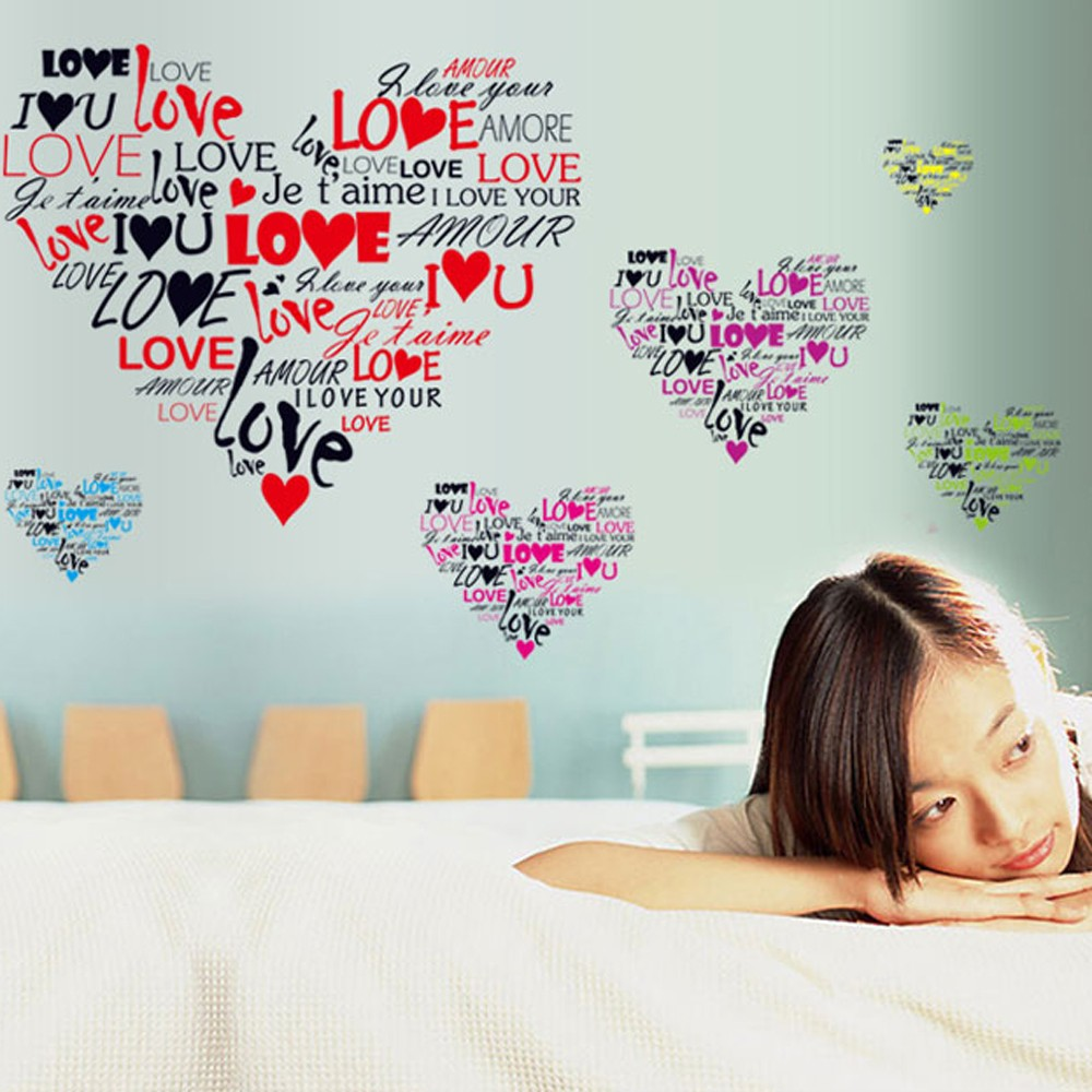 loving heart love letter removable wall stickers art decals sales loving heart love letter removable wall stickers art decals mural diy wallpaper for room decal 50 70cm