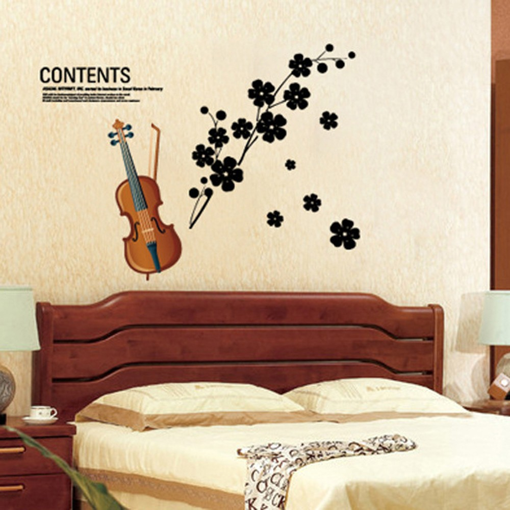 Beautiful violin flowers removable wall stickers art decals sales beautiful violin flowers removable wall stickers art decals sales online tomtop amipublicfo Images
