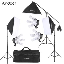 Andoer Studio Photo Video Softbox Lighting Kit Фотооборудование (15 * 45W Bulb / 3 * 5in1 Bulb Socket / 3 * Softbox / 3 * Light Stand / 1 * Cantilever Stick / 1 * Сумка для переноски UK Plug 220V