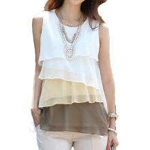 New Cute Women Girl Chiffon Tank Tops Cascading Ruffles Sleeveless Blouse Shirt Brown