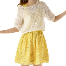 Cute Women Mini Dress Geometric Print Flared Skater Skirt Tank Dress Crochet Top Two-piece Yellow