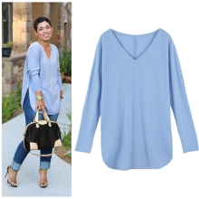 New Fashion Women T-shirt V Neckline Side Splits Long Sleeve Solid Loose Fit Casual Tops Blue