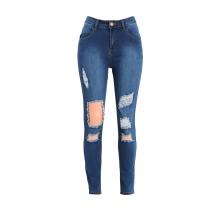 Женщины джинсы мытый Разорванные Отверстие молнии Карманы высокой талии Эластичный штаны карандаш брюки Леггинсы синий