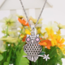 Fashion Vintage Retro Branch Crystal Rhinestone Hollow Summer Owl Pendant Necklace Sweater Chain Metal Alloy Bird Jewelry for Woman Girl