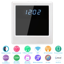 H.264 720P Hidden Spy Clock Camera Wireless WiFi IP Camera Support SD Card Onvif Android/iOS Control CCTV Security