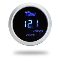 Цифровая напряжения метр датчика для авто 52 мм 2 дюйма LCD 0 ~ 15В предупреждение света серебро