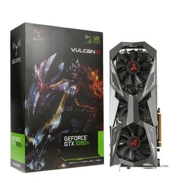 Colorful iGame GTX1080Ti Vulcan X OC Video Graphics Card GPU 1620-1733MHz 11G 352bit SLI VR Ready LCD Monitor