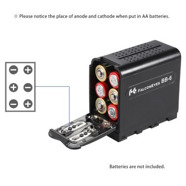 BB-6 6pcs AA Battery Pack Case Battery Holder Power as NP-F Series Battery for LED Video Light Panel / Monitor