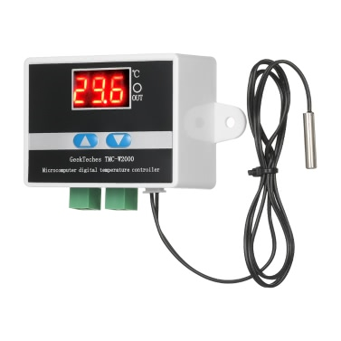 GeekTeches TMC-W2000 DC12V High Precision LCD Digital Temperature Controller Thermostat with Waterproof Sensor Probe