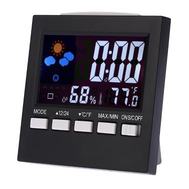多機能デジタルカラフルなLCD温度計湿度計時計アラームスヌーズ機能カレンダー天気予報の表示