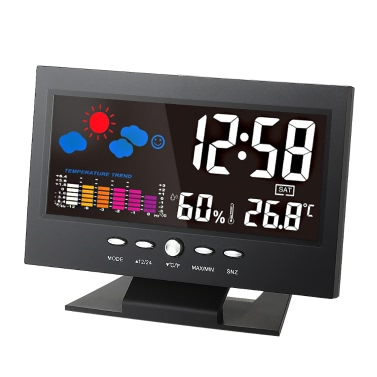 °C/°F Multifunctional Indoor Colorful LCD Digital Temperature Humidity Meter Clock Thermometer Hygrometer Calendar Temperature Trend Alarm Comfort Level Weather Forecast Vioce-activated Backlight