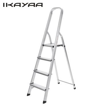 iKayaa Non-slip Folding 4 Step Ladder With Hand Grip Portable Aluminum Work Platform Step Stool 330LB/150KG Capacity EN131 Approved