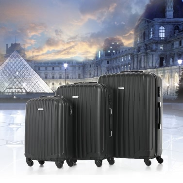 """TOMSHOO Fashion 3 Piece Luggage Set Carry-on Suitcase ABS Trolley 20""""/24""""/28"""" Hard Shell Combination Lock 4 Wheel Spinner Set"""