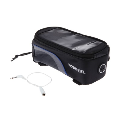 """Bike Bicycle Frame Front Tube Bag for Cell Phone 4.8"""" PVC Blue"""