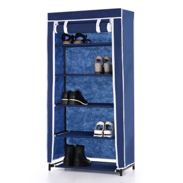 iKayaa Classic Portable 5 Tier Fabric Shoes Rack Cabinet Non-woven Zip Up 10 Pair Standing Boots Shoes Storage Organizer