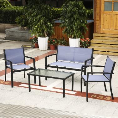 iKayaa 4PCS Patio Garden Furniture Set Porch Sofa Chairs Table Outdoor Conversation Set  Steel Frame