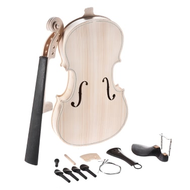 DIY 4/4 Full Size Natural Solid Wood Acoustic Violin Fiddle Kit Spruce Top Maple Back Neck Ebony Wood Fingerboard Accessory Aluminum Alloy Tailpiece