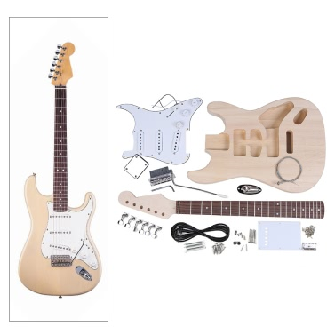 ST Style Electric Guitar Basswood Body Maple Neck Rosewood Fingerboard DIY Kit Set