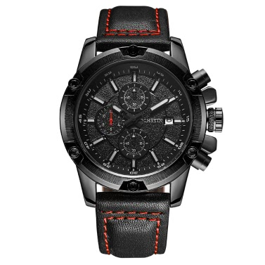 OCHSTIN Fashion Military Style Luminous Quartz Men Watch Leather Big Dial Water-Proof Chrono Casual Wristwatch + Box