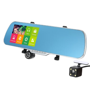 """5"""" Android 4.4 Smart GPS Navigation Car Rearview Mirror DVR With Rearview Camera"""