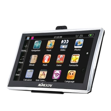 """KKmoon 7"""" HD Touch Screen Portable GPS Navigator 128MB RAM 4GB ROM FM MP3 Video Play Car Entertainment System with Back Support +Free Map"""