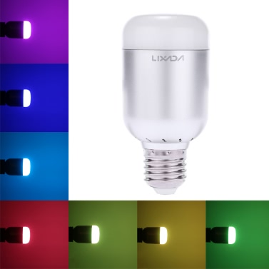 Lixada 6W 550LM E27 Smart Bluetooth RGB & White RGBW LED Bulb Light Lamp Brightness Flashing Mode Adjustable for iPhone 6s/Plus Samsung Galaxy Smartphones App Control Multicolored Illuminative Indoor Use