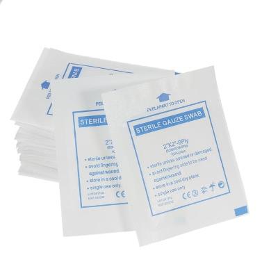 "Decdeal 50PCS Sterile Gauze Pads 2*2"" 8Ply Non-Stick Cotton All Purpose Medical Gauze Pads"