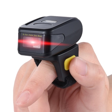 Portable Handheld Bluetooth Wireless Ring Finger 1D Barcode Scanner for Supermarket Library Express Company Warehouse