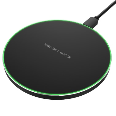INCHOR Portable Ultra-thin Round Shape Qi Wireless Charger Charging Pad Universal Phone Charge Base Safe Quick Charge for Samsung Galaxy S8/S8+/S7/S7 Edge/S6 Edge+/Note 5/Note 7/Note 8 or for iPhone X/8/8 Plus and Other Qi-enabled Smartphones
