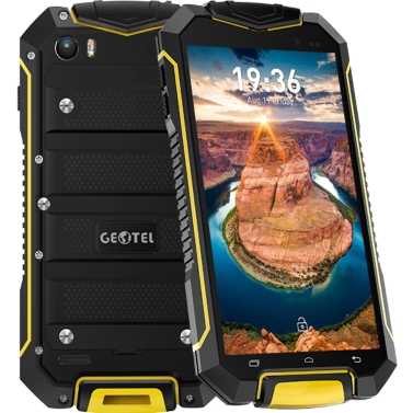 Geotel A1 Tri-proof Smartphone 3G WCDMA Phone 4.5inch HD LCD Screen 960*540pixel MTK6580M Quad-core 1.3GHz CPU Android 7.0 OS 1GB RAM 8GB ROM 8.0MP+2.0MP Cameras 3400mAh Battery IP67 Waterproof Dual Sim WiFi GPS Cellphone