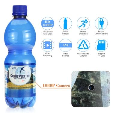 1080P Spy Hidden Bottle Camera Drinking Water Bottle Video Recorder Motion Detection Portable DVR TF Card