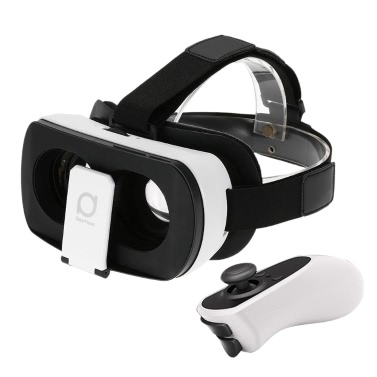 DeePoon V3 Virtual Reality Glasses Headset Head-Mounted 3D VR Glasses 3D Movie Game w/ Bluetooth 3.0 Gamepad Universal for iPhone Samsung / All 4.7 to 5.7 Inches Android iOS Smart Phones