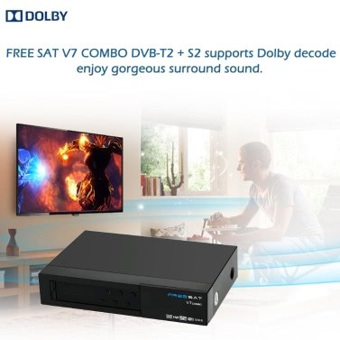 FREE SAT V7 COMBO Full HD 1080P DVB-T2 + S2 Digital Video Broadcasting Receiver Set-up Box Compatible with DVB-S / DVB-T / Supports BISS Key for TV HDTV