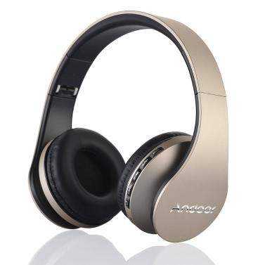 Andoer LH-811 Bluetooth 3.0 + EDR Headphone  earphone 4 in 1 Hands-free Deep Bass Built-in Mic /MP3 Player /MicroSD /Music FM Radio  -Gold