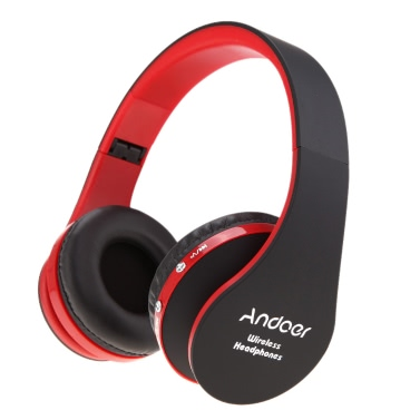 Foldable Wireless Bluetooth Stereo Headset Handsfree Headphones Mic for iPhone iPad PC Black&Red