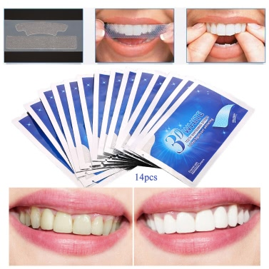 28Pcs/14Pair 3D Teeth Whitening Strips Teeth Dental Whitening Double Elastic Gel Strips Dental Tools Teeth Strips Whitening Product