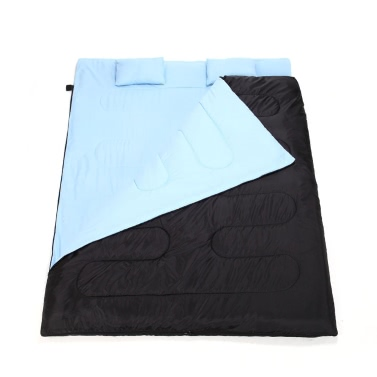 "86""x60"" Double Thermal Sleeping Bag 2 Person Outdoor Camping Hiking Sleeping Bag with 2 Pillows"