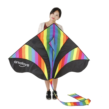Ametoys 290cm*140cm Large Size Huge Rainbow Kite with 50m Line Delta Kitee