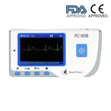 Heal Force PC-80B Professional Easy ECG Monitor ECG Monitoring Machine LCD Heart Health Monitor Easy Handheld Portable USB Continuous Measuring Function